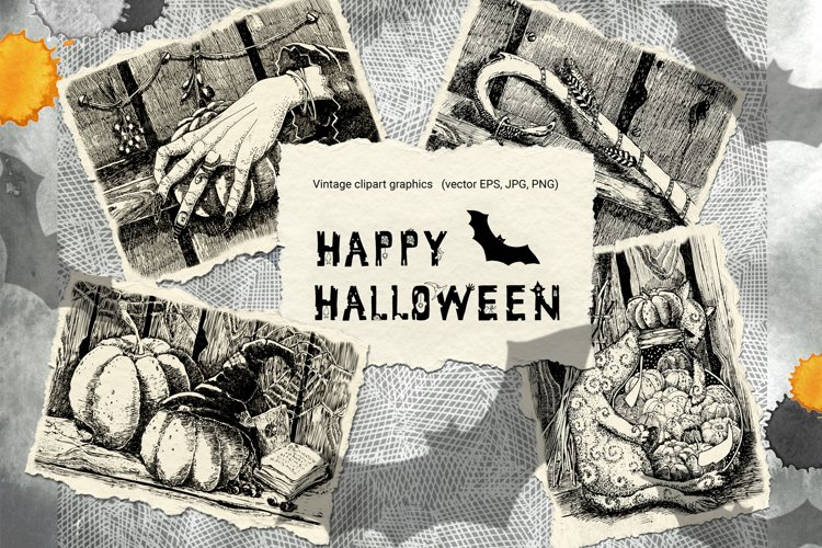 Vintage Halloween clipart. Black and white graphics postcard example image 1