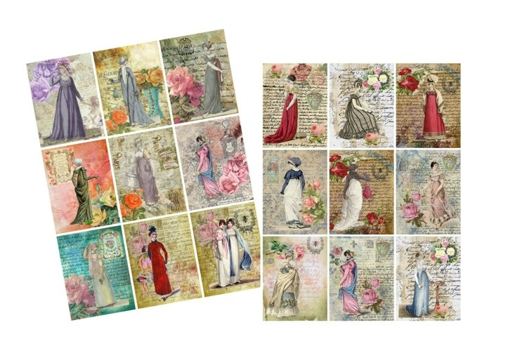 Jane Austen Regency Fashion Journal Tags JPG and PDF