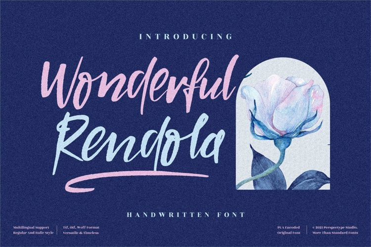 Wonderful Rendola - Beautiful Handwritten Font example image 1