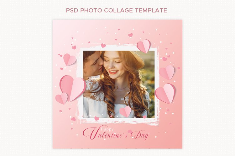 Heart Photo Collage Template for Photoshop