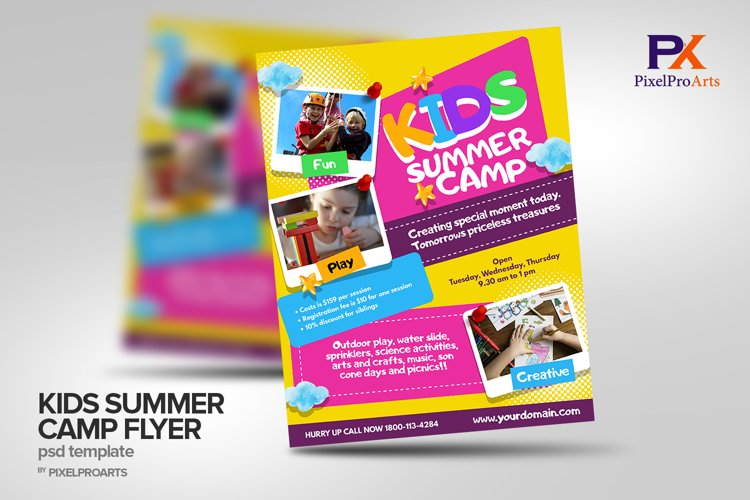 Kids Summer Camp Flyer Poster Template example image 1