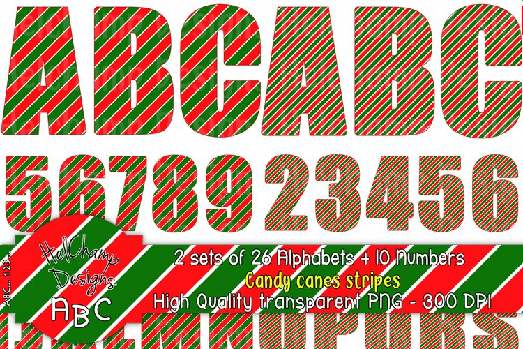 2 sets of 26 letters and10 numbers Candy Canes Stripes-AL002