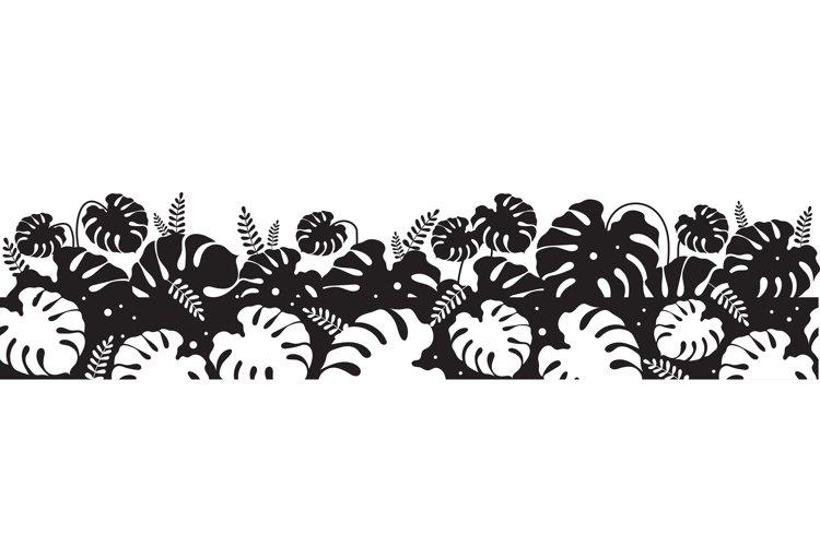 Monstera leaves black silhouette seamless border