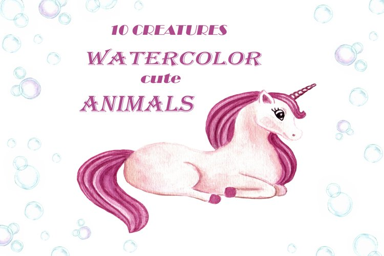 Watercolor cute animals.