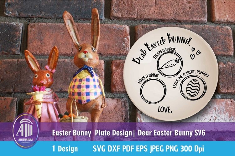 Easter SVG| Dear Easter Bunny SVG| Easter Bunny plate SVG example image 1