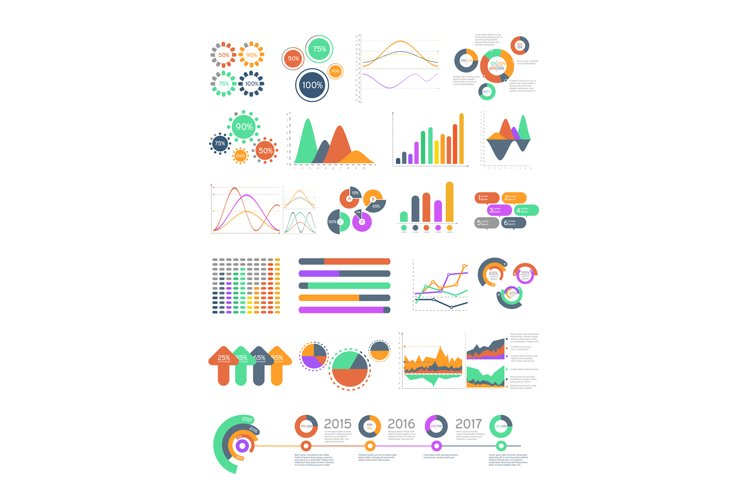 Multicolored vector infographics with different graphs and d example image 1