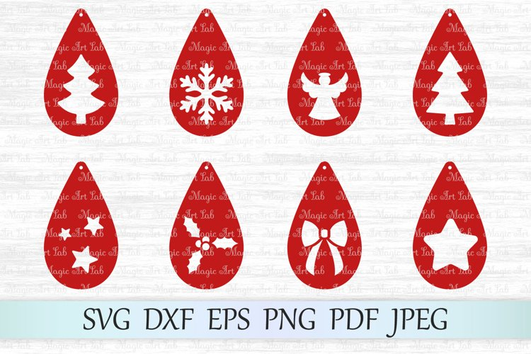 Christmas earrings SVG, Earring templates SVG, Earrings SVG example image 1