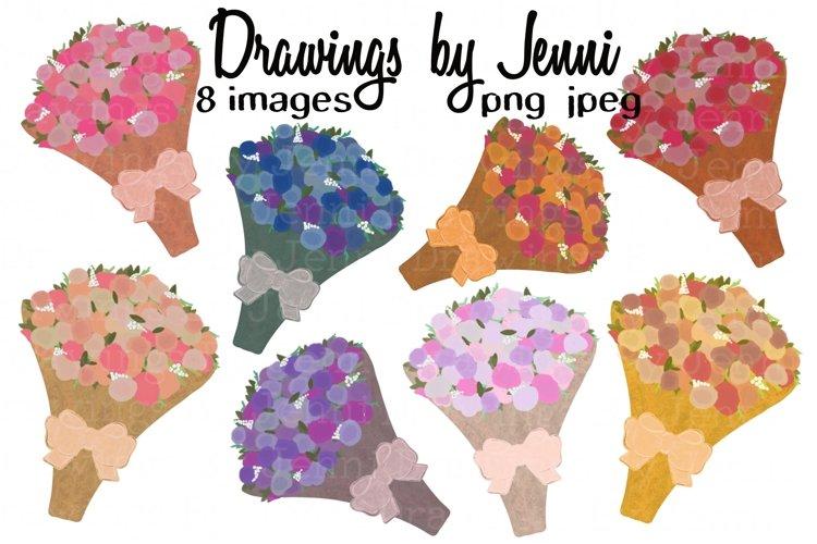 Flower Bouquet Clipart Set, Sublimation