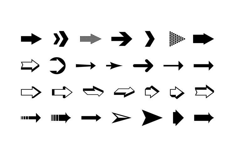 Arrows vector collection black set. Arrows black icons example image 1