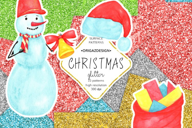 Christmas Glitter Seamless Pattern example image 1