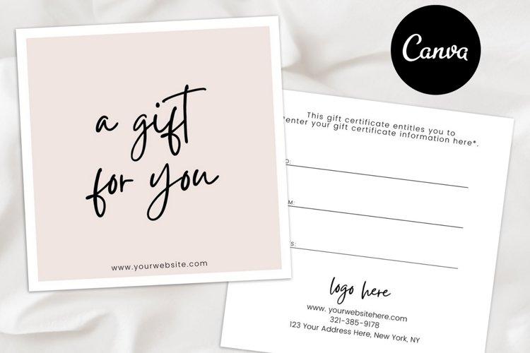 Editable Gift Certificate Template Canva, Gift Voucher Card