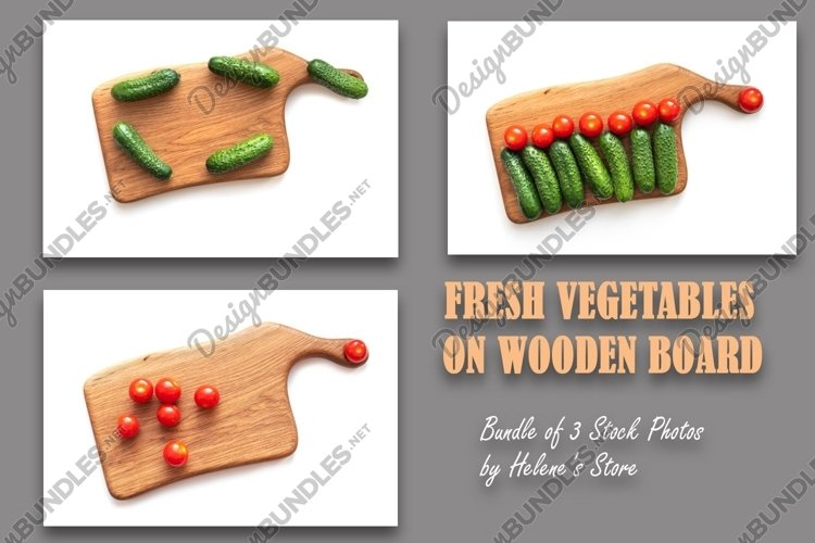 Bundle with fresh vegetables on wooden board. example image 1