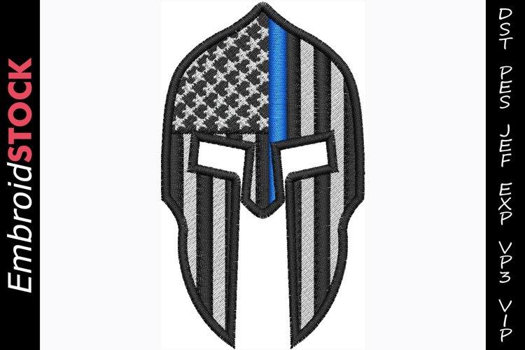 Thin Blue Line Spartan Helmet example image 1