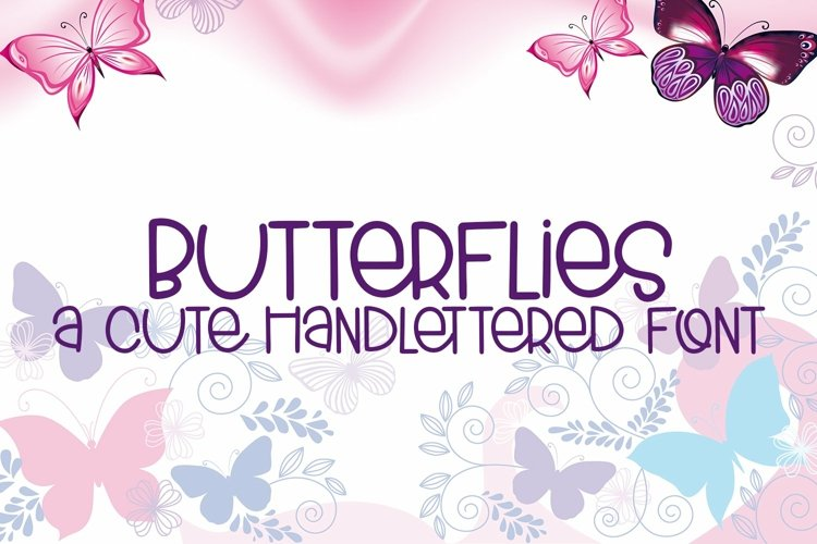 Web Font Butterflies - A Cute Hand-Lettered Font example image 1