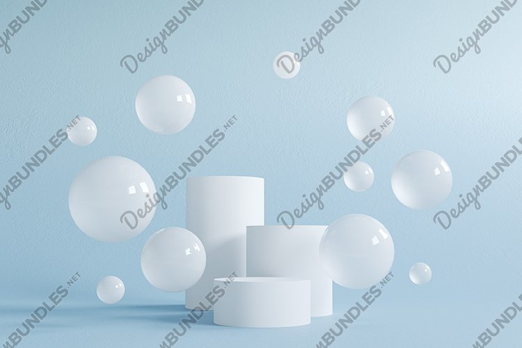 Abstract scene with geometric forms. Cylinder podium