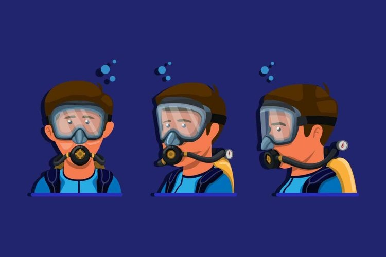 Scuba diving snorkeling character symbol icon set vector example image 1