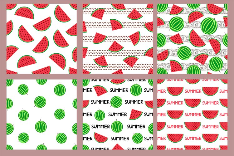 6 seamless pattern with watermelon. Ai, EPS, SVG, JPG example image 1