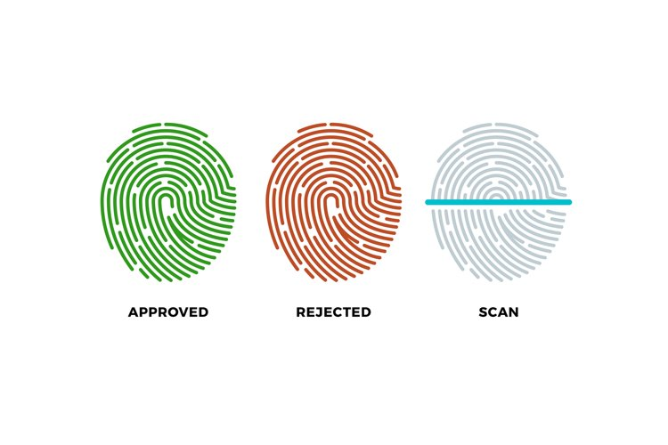Fingerprint thumbprint vector icons set. Approved, rejected example image 1