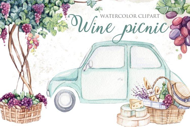 Watercolor Picnic wine Clipart