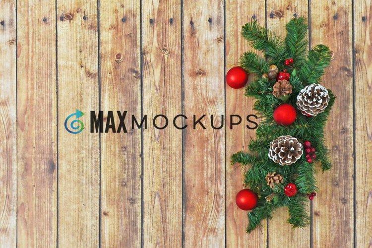Wood background Mockup Christmas, flatlay, stock photo example image 1