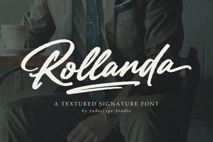 Rollanda - Textured Signature Font example image 1