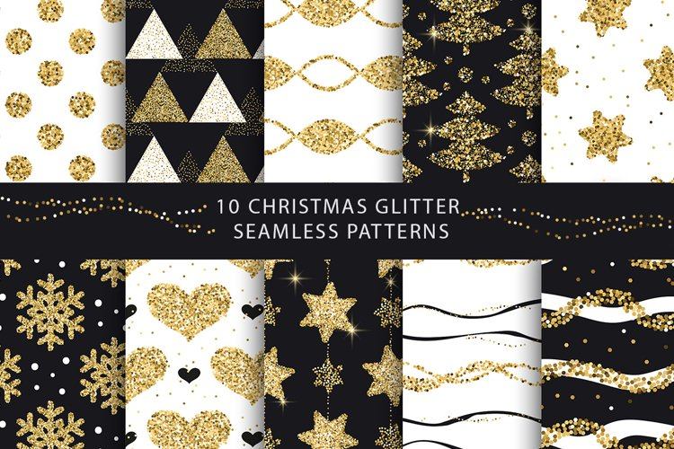 Christmas Glitter Seamless Pattens. example image 1