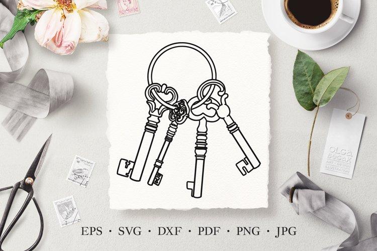 Keys Hand Drawn Line Art Vector SVG Illustration