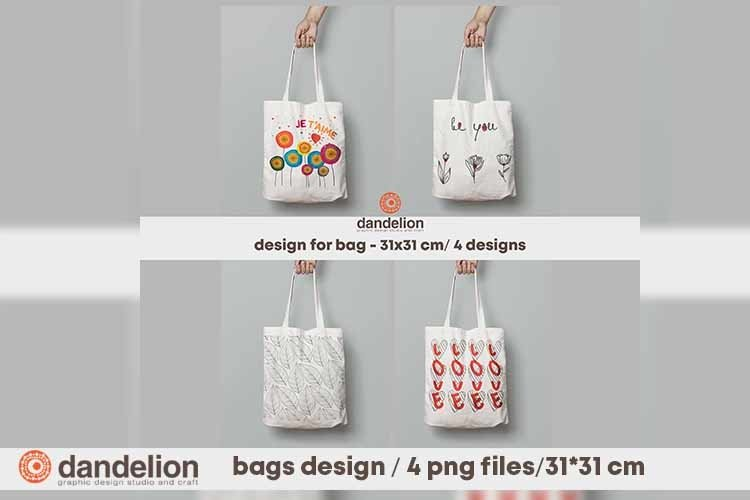Bags design / 4 png files for your textile bags example image 1