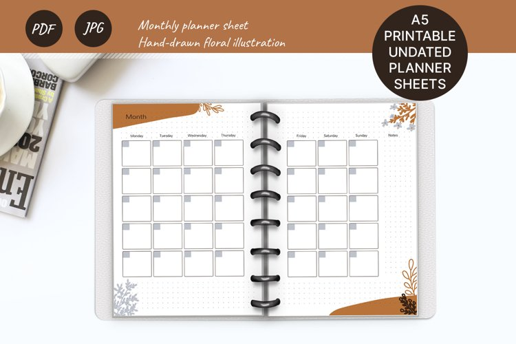 Undated monthly planner A5. Printable Monday week start example image 1