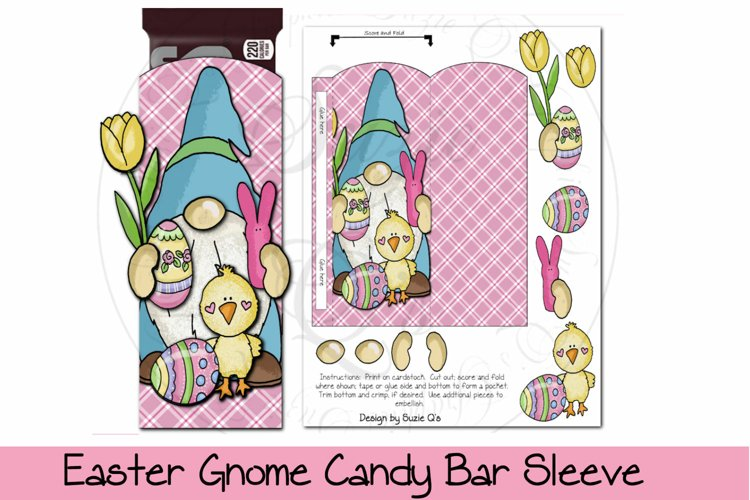 Easter Gnome Bunny Candy Bar Sleeve