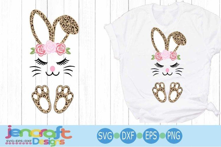 Easter svg, Floral Cheetah print bunny ears feet Leopard