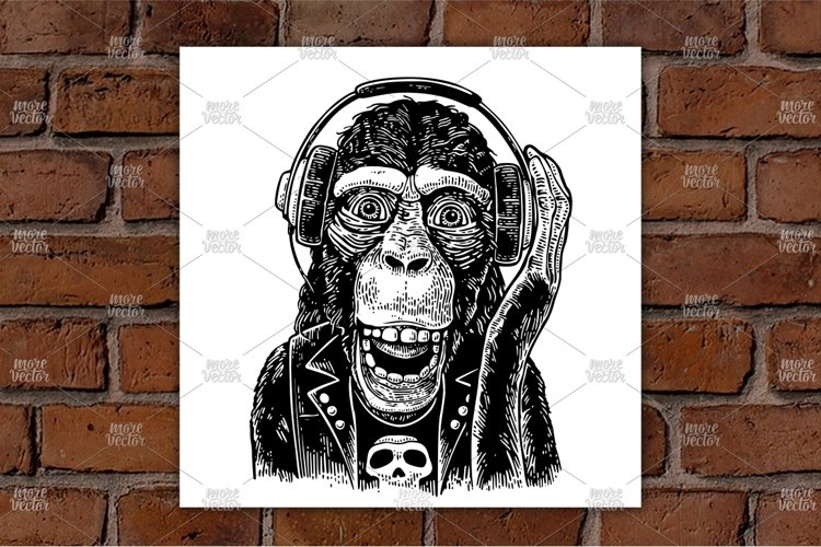 Monkey rocker in headphones and t-shirt with skull. example image 1