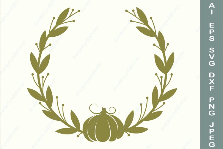Fall leaves and pumpkin border svg, Autumn frame svg example image 1