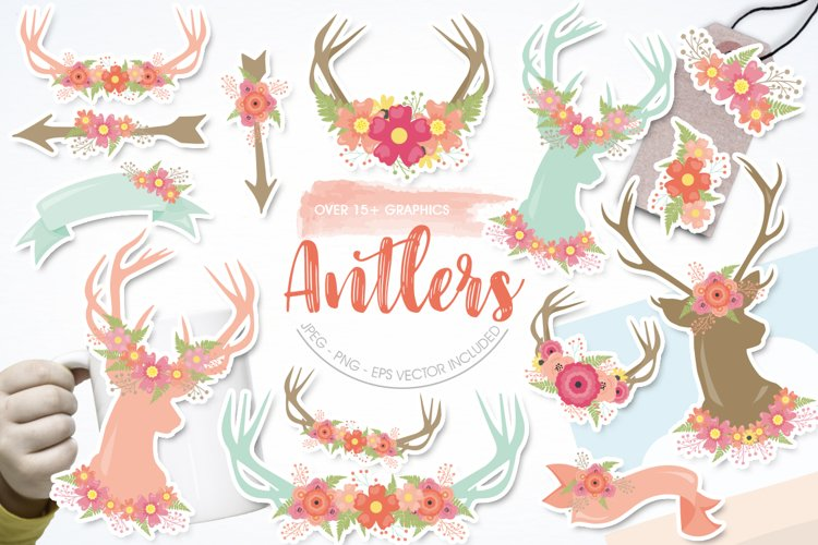 Antlers, deers and flowers Graphics and illustrations, vecto example image 1