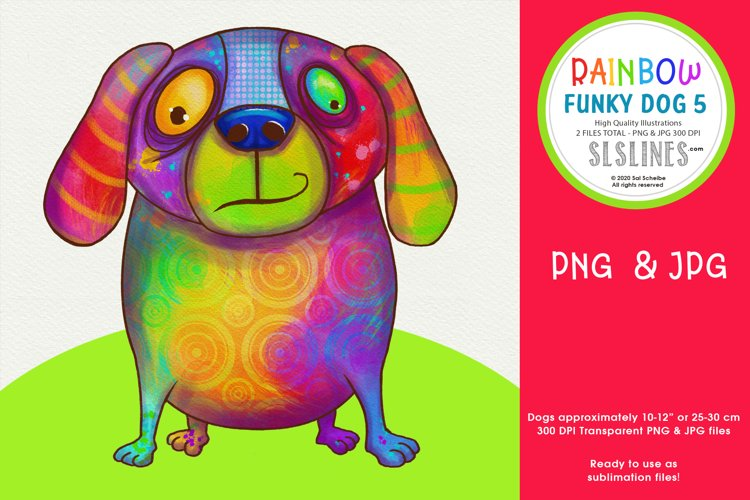 Rainbow Funky Dog Sublimation PNG Dog 5 example image 1