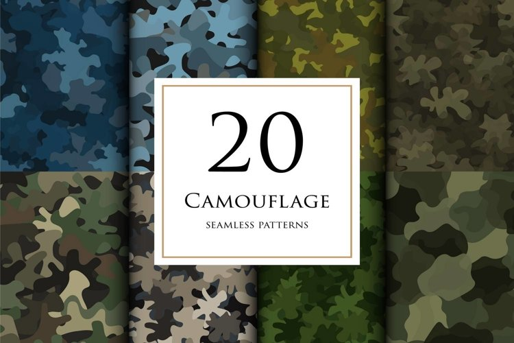 20 Vector digital camouflage masking seamless pattern set example image 1