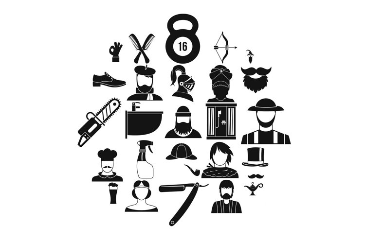 Haircuts icons set, simple style example image 1
