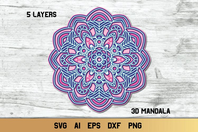 Mandala SVG 3d Layered | Multi Layer SVG | Floral Cut File example image 1