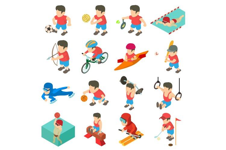 Sport icons set, isometric style example image 1