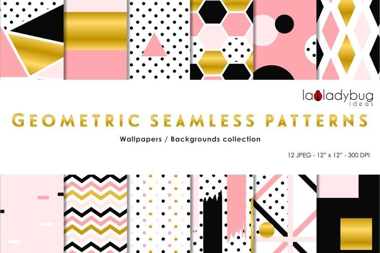 Golden, black, blush, peach geometric seamless digital paper example image 1
