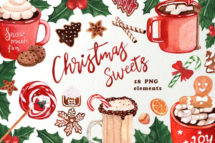 Christmas sweets clipart watercolor, Hot chocolate clipart