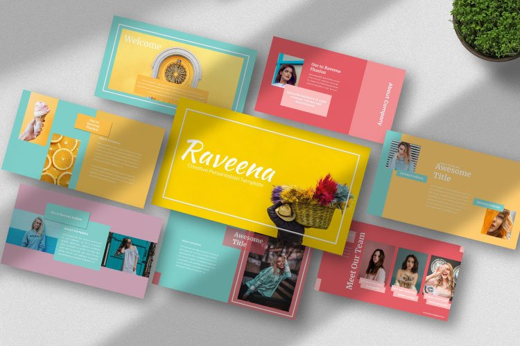 Raveena - Creative Powerpoint Template example image 1