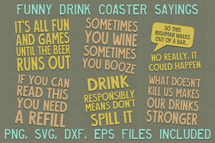 Funny Drink Coaster SVG Sayings