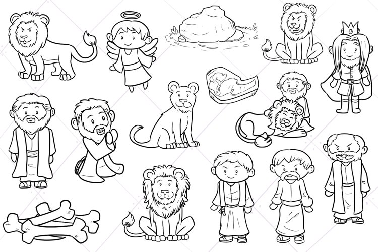 Daniel and the Lions Den Digital Stamps