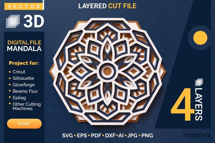 Mandala 3D Layered SVG Cut File - Laser Cutting example image 1