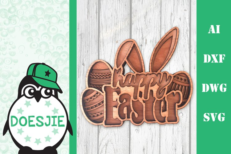 Happy Easter with bunny ears Layered mandala SVG Laser cut