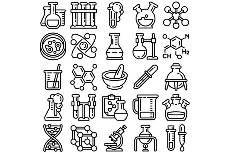 Chemistry icon set, outline style example image 1