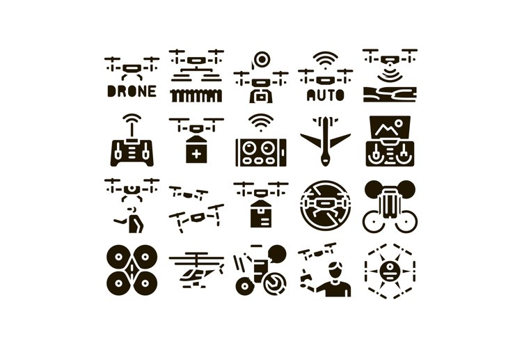 Drone Fly Quadrocopter Glyph Set Vector example image 1