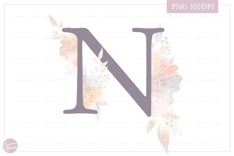 MONOGRAM Letter N Elegant Floral Monogram - Flower alphabet example image 1