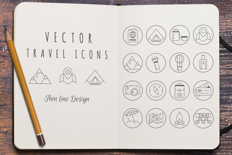 Travel Line Icons Set example